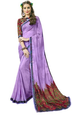 Purple Abstract Print Georgette Saree With Blouse