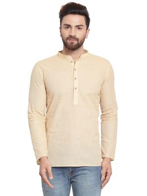 Beige plain cotton men kurta