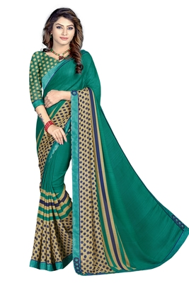 Turquoise Abstract Print Georgette Saree With Blouse