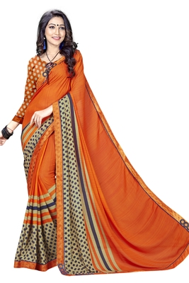 Orange Abstract Print Georgette Saree With Blouse