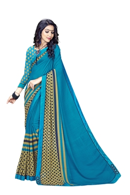 Blue Abstract Print Georgette Saree With Blouse