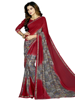 Red Abstract Print Georgette Saree With Blouse