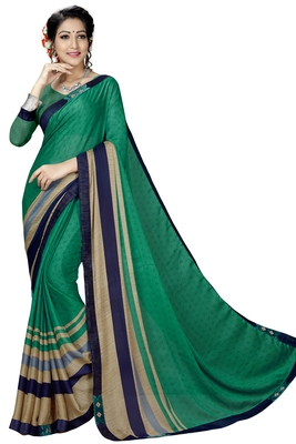 Green Abstract Print Silk Blend Saree With Blouse