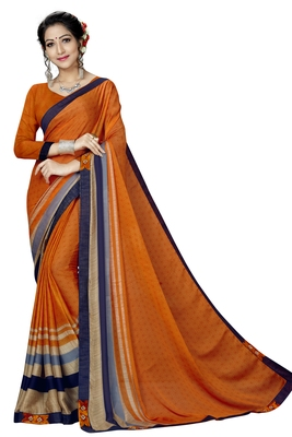 Orange Abstract Print Silk Blend Saree With Blouse