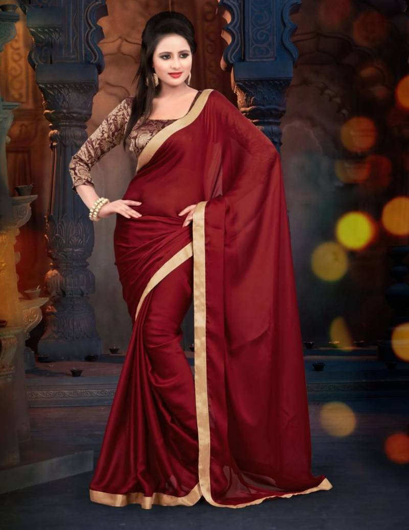 dc554c933a Maroon plain chiffon saree with blouse - Monjolika - 384701