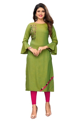 Green embroidered  rayon kurti