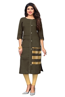 Brown solid cotton kurti