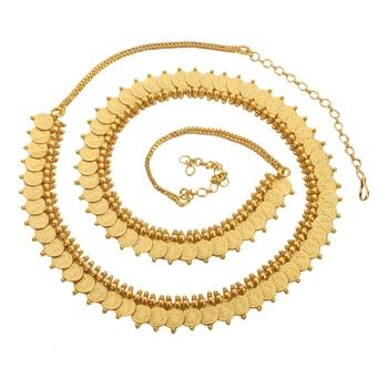 Gold Pated Polki  Agate Waist Belt