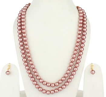 2 Layered Pink Pearl Necklace Sets