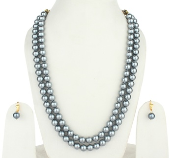 2  Layered Grey Pearl Necklace Sets