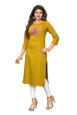 Yellow embroidered cotton kurti