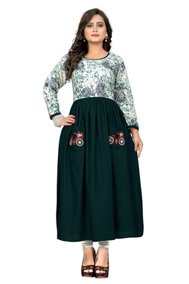 Green embroidered  rayon kurti
