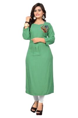 Light green embroidered rayon kurti