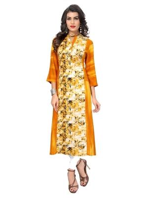 Yellow printed rayon kurti