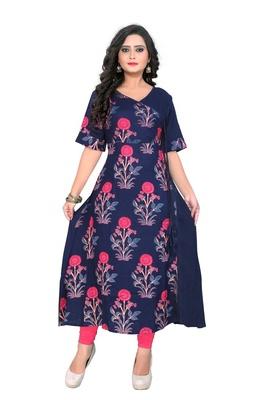 Dark blue printed rayon kurti