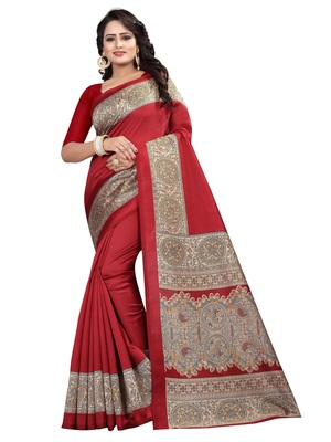 Maroon printed art silk saree with blouse