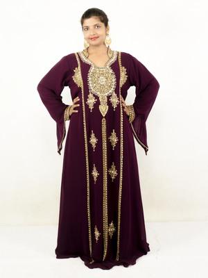 Wine embroidered georgette islamic kaftans