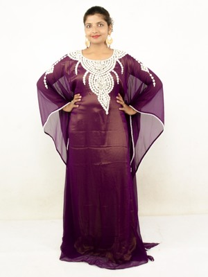Wine embroidered georgette islamic kaftans