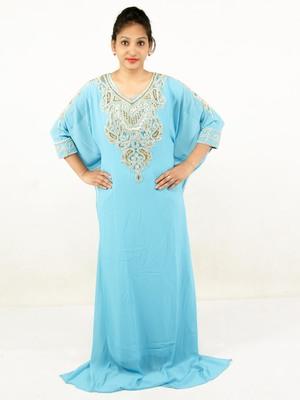 Aqua blue embroidered georgette islamic kaftans