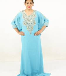 Aqua blue embroidered georgette islamic kaftans