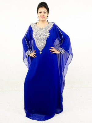 Royal blue embroidered georgette islamic kaftans