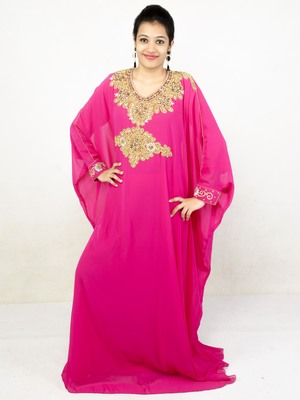 Rani pink embroidered georgette islamic kaftans