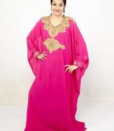 Rani pink embroidered georgette islamic kaftans