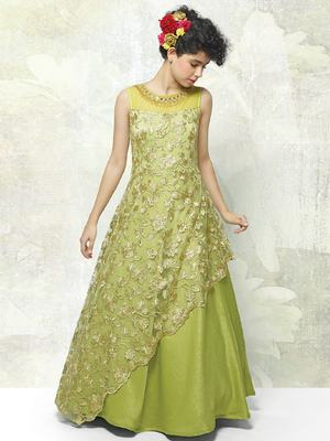 Light Green Viscose Embroidery Net Readymade Full Flair Partywear Designer Kids Wear Gown Dress