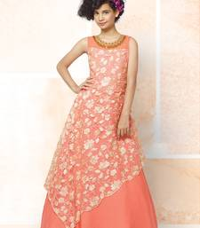 Orange Viscose Embroidery Net Readymade Full Flair Partywear Designer Kids Wear Gown Dress