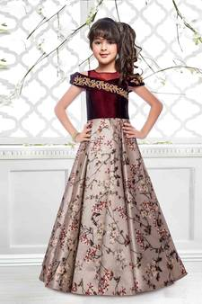 217e214a5e4 Maroon N Beige Taffeta SIlk Digital Printed Flared Heavy Readymade  Partywear Gown For Girls Kids wear · Shop Now