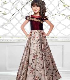 Maroon N Beige Taffeta SIlk Digital Printed Flared Heavy Readymade Partywear Gown For Girls Kids wear