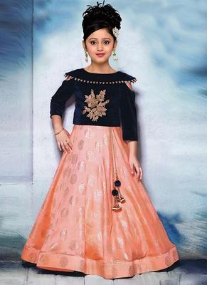 Navy Blue Embroidered Velvet Designer Readymade kids Lehenga Choli with dupatta Ethnic Wear