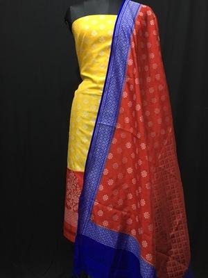 Yellow  weaved dupion silk unstitched salwar with dupatta