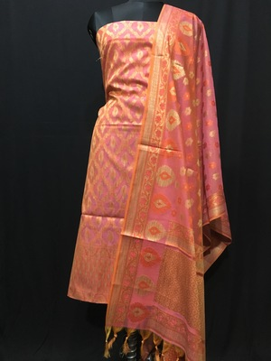 Pink weaved cotton silk unstitched salwar with dupatta