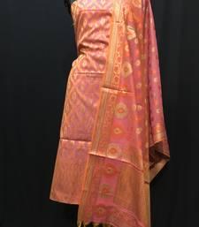 Pink weaved cotton silk unstitched salwar with dupatta