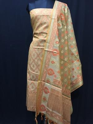 Beige weaved cotton silk unstitched salwar with dupatta