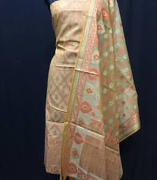 Beige weaved cotton silk unstitched salwar with dupatta