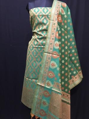 Green weaved cotton silk unstitched salwar with dupatta