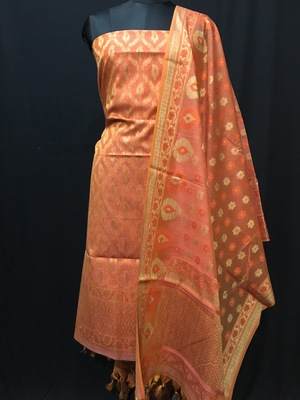 Peach weaved cotton silk unstitched salwar with dupatta