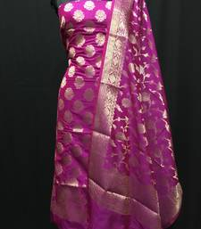 Pink weaved katan silk unstitched salwar with dupatta