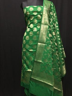 Green weaved katan silk unstitched salwar with dupatta