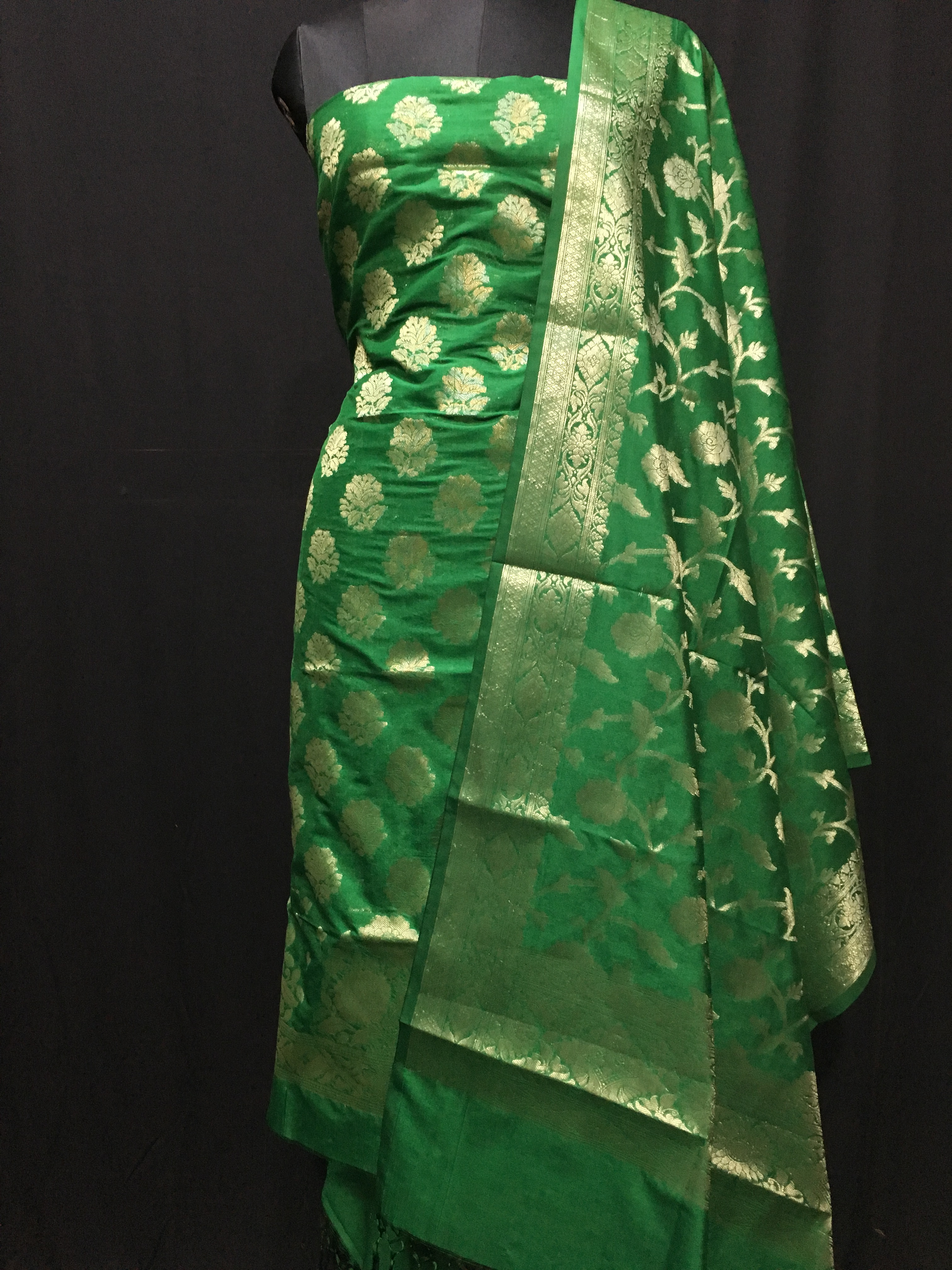 055eb9f92d Green weaved katan silk unstitched salwar with dupatta - Banarasi Style -  2856169