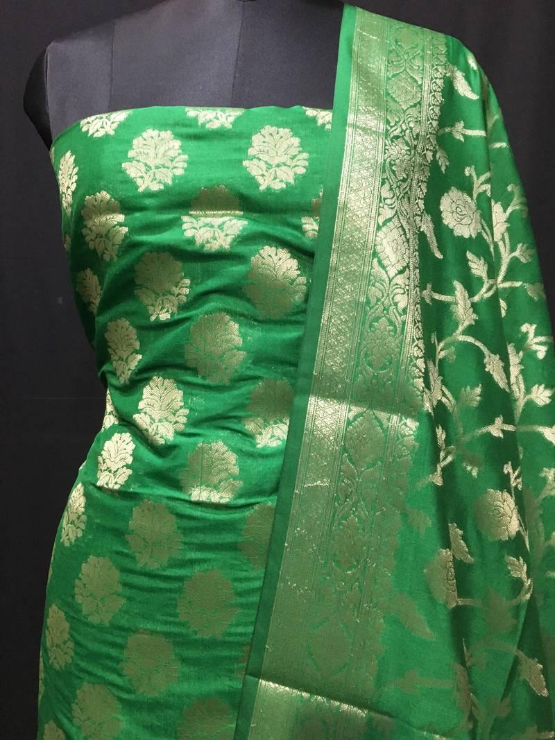 9c97e01318 Green weaved katan silk unstitched salwar with dupatta - Banarasi ...