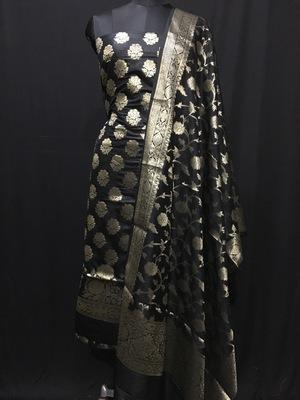 Black weaved katan silk unstitched salwar with dupatta