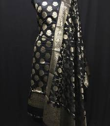 Black weaved katan silk unstitched salwar with dupatta