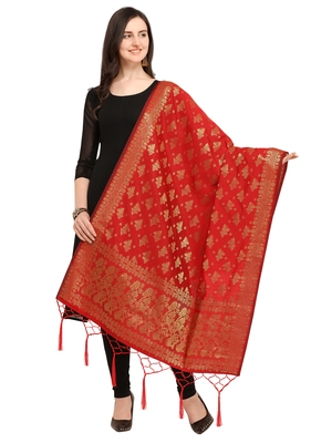 Maroon Art Silk Woven Women'S Dupatta