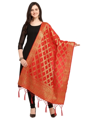 Red Art Silk Woven Women'S Dupatta