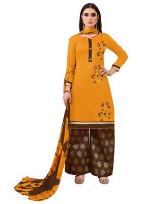 Yellow Embroidered Banarasi Cotton Salwar With Dupatta