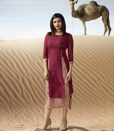 Light maroon printed georgette kurti