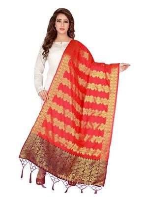 Red Art Silk Woven Stole And Dupatta